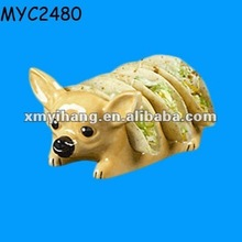 Chihuahua shaped ceramic bread holder