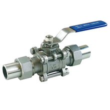 3PC Stainless steel clamp butt welded hub ends ball valve