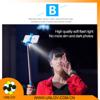 super mini selfie stick,mini wired selfie stick with led lights