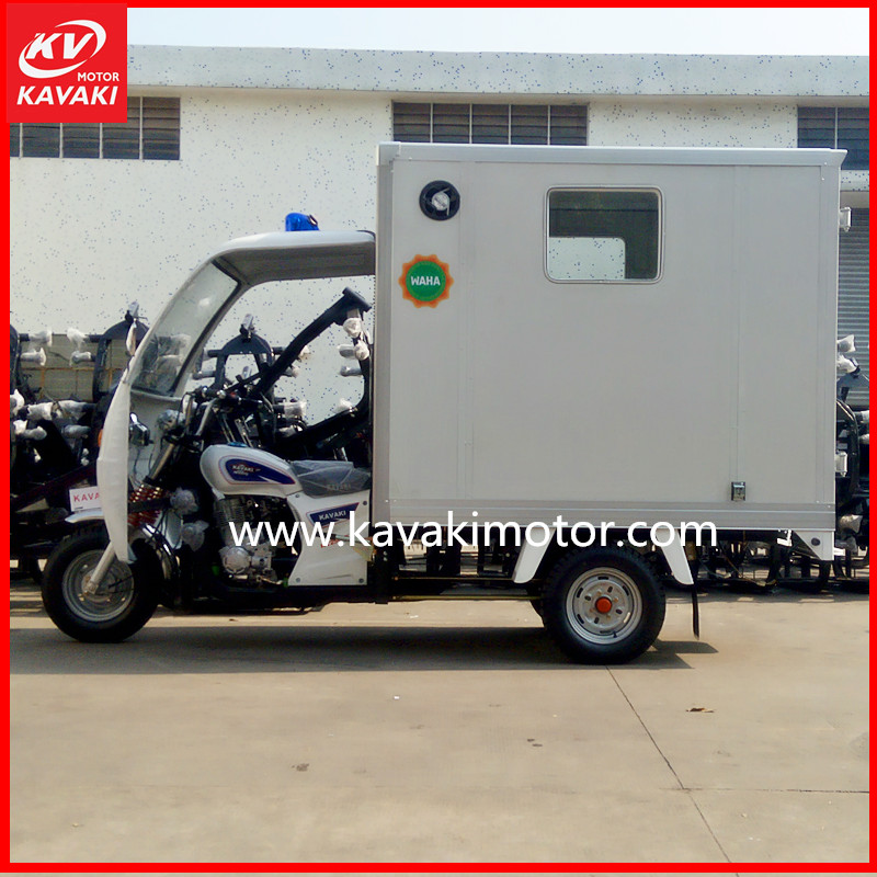 Half closed cab 3 wheel passenger ambulance auto heavy load rickshaw cargo tricycle with cabin
