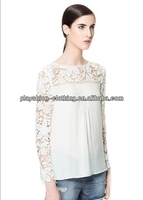 Trendy Women Hot European Style Sexy Lace chiffon Matching Tops For Hot Summer