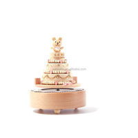 Wooden hand crank happy birthday cake music box movement for kids