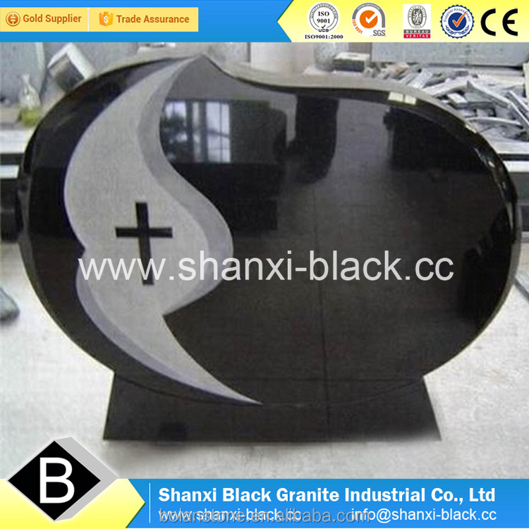 American USA style shanxi black granite headstone base angel shaped monuments tombstone memorials