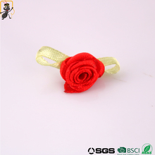 haoxie brand 2017 hot sale handmade small flower ribbon accessories satin flower red rose