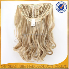New fashion blonde synthetic hair pieces cheap half wig