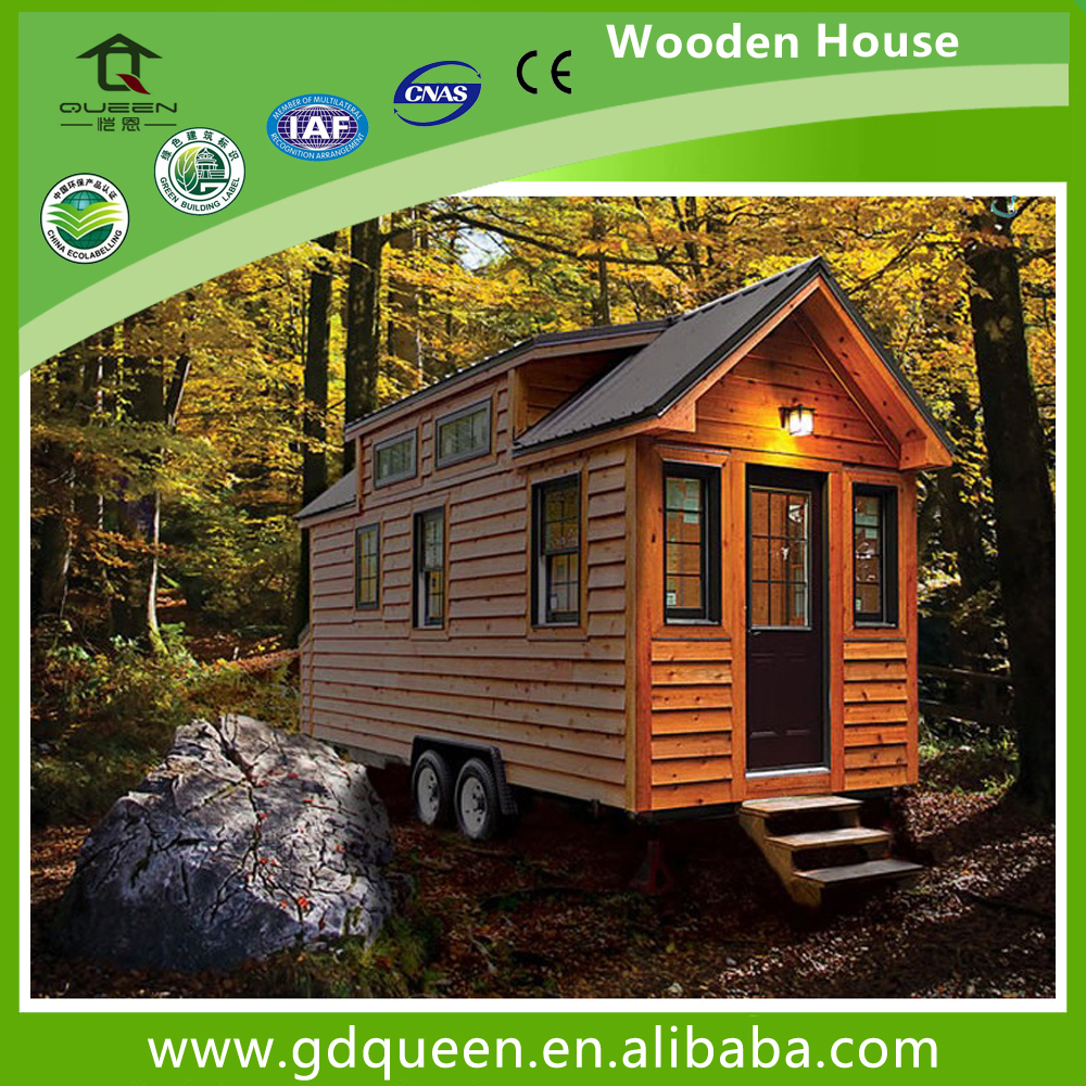 Wood Tiny Prefabricated Modular Trailer House For Sale