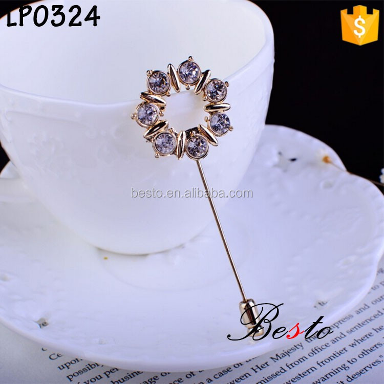 Purple crystal gentlemen suits metal lapel pins/brooch pins for garments decoration