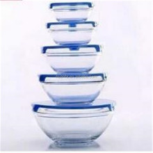 Sales promotion150ml-1000ml 5 Piece Glass Bowl Set with silicone Lids (Microwave, freezer and dishwasher safe)