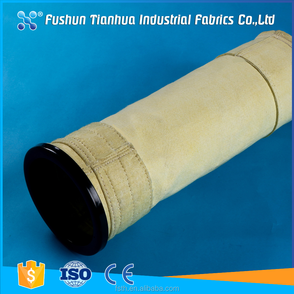 PTFE coated woven fiber glass fabric filter bag for cement plant