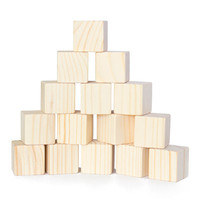 Natural cubic small wood stacking building block toys