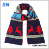 Newest design fashion custom knitted christmas scarves
