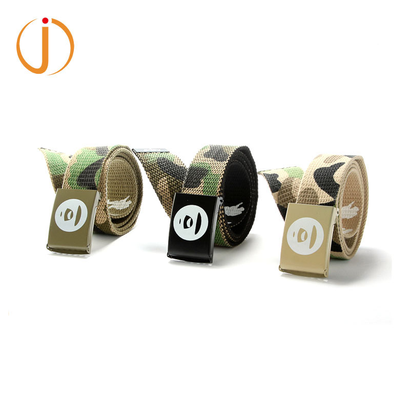 Newest South Korea Style Fashion Cotton Fabric Canvas Mens Belt Styles With Iron Slide Buckle