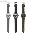 Fashion alloy case with PU men's quartz watch