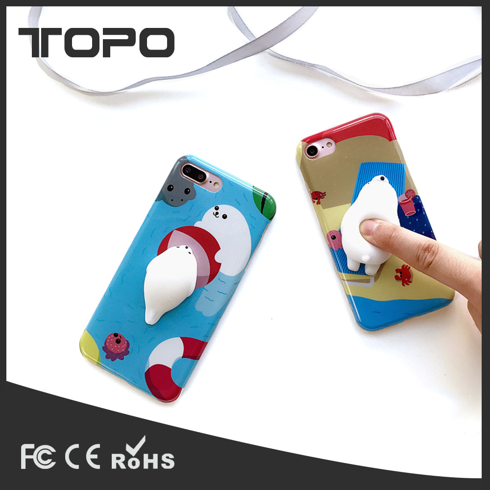 Cute Silicone 3D Cartoon Squishy lovely Mobile Phone Squishy Pinch Case Phone Cover for iPhone 6 6s Plus 7 7 8Plus