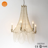 New design crystal chandelier pendant lights antique iron ceiling lamp with ul/ce C6275-6