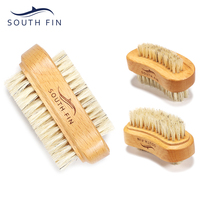 South Fin 2-Headed Boar Bristle Beech Wood Scrubbing Wooden Nai Art Cleaning Brush For Hands