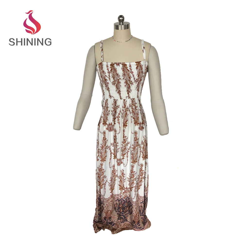 Printing spaghetti vine strap long dress beach dress for sale