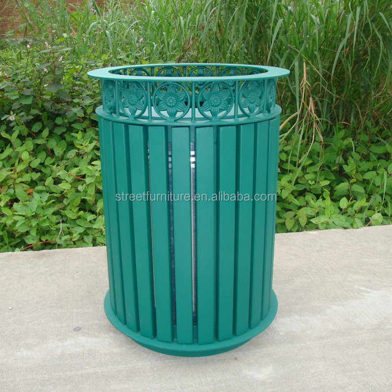 Powder coated classic metal outdoor garbage bin,outside garbage bin/dustbin with cover