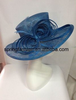 Cobalt blue sinamay hat,church hat,Kentucky Derby hat,Christmas party hat available in any colors