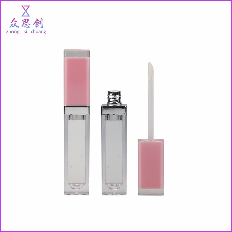 Unique luxury plastic screen printing cute pink square custom lip gloss containers with mirror clear cover cap 7.2ml ZP63313