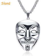 Most Popular Products oxidation pendant jewelry 316L stainless steel Man Mask Necklace V for Vendetta