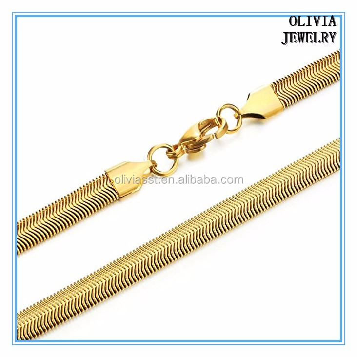 Olivia vintage stainless steel dubai new gold plated design snake chain