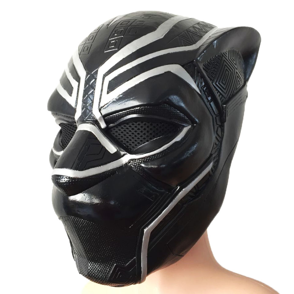 Movie Cosplay Mask Men's Captain America: Civil War Black Panther Full Latex Mask For Halloween Party Prop x10025-a