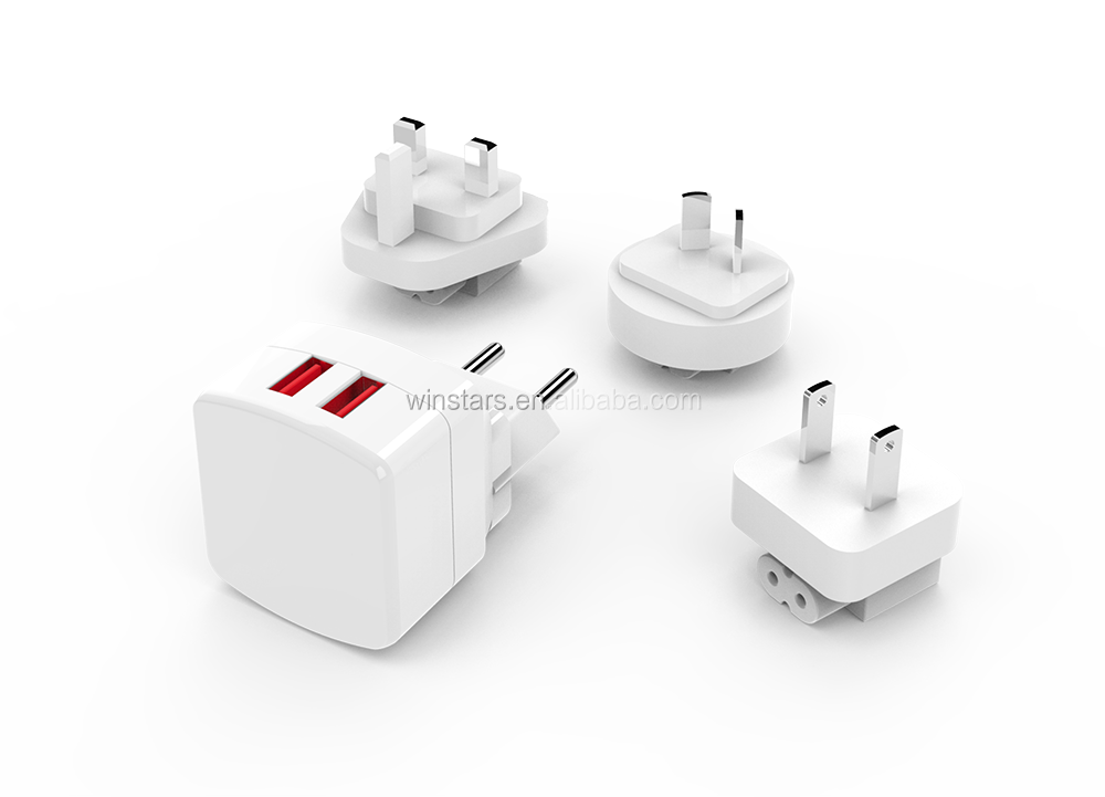 4 in 1 US EU UK AU Plug USB Charger, 2 Port USB Charger, Fast Charging Supported