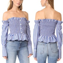 Off the Shoulder Smocking Body Blouse Tops Women OEM Clothing manufacturer Low MOQ