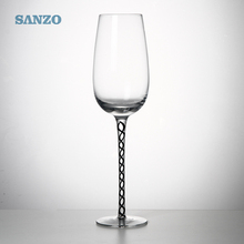 Hand blown crystal swirl stem ribbed wine glass for bar