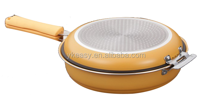 Hot selling 26cm stamped aluminum multi function double fry pan