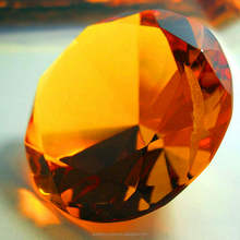 faceted amber color glass crystal diamond for wedding gifts