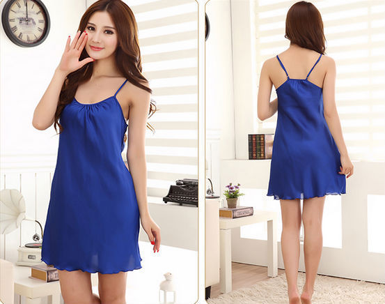 dark blue strap soft wear sleep dress funny baby clothes women silk nighty sleepwear