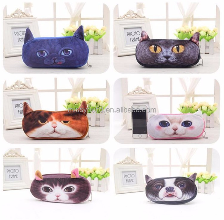 Plush Animal Pencil Case Producer For Teenagers Cat And Dog Pencil Bags