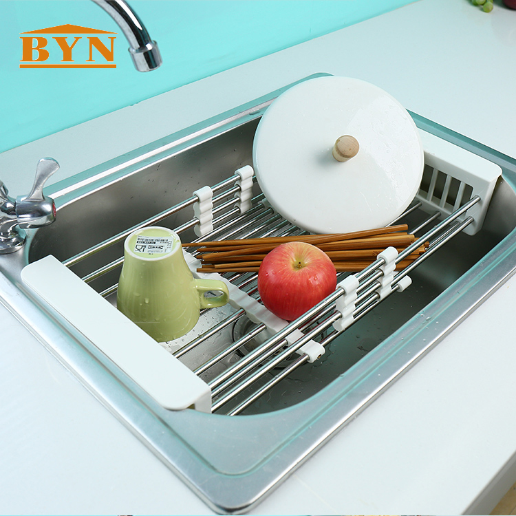 DQ0076 BYN Food Grade Dish Drying Drain Rack stainless steel Kitchen Dish Drainer