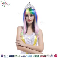 Styler Brand crown style party wig wholesale polyester synthetic colorful 18 inch hair wig