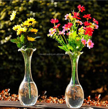 long neck clear glass vase