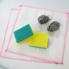 Mixed package kitchen cleaning cloth and stainless steel ball and scouring pad sponge
