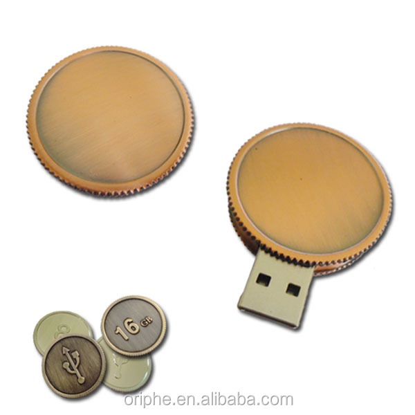 Metal 1GB gear coin mini usb flash drive