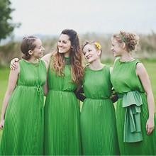 BD39 Elegant Bridesmaid Dresses for Girl Prom Party Long Chiffon High Collar Emerald Green Maid of Honor Dresses Pictures