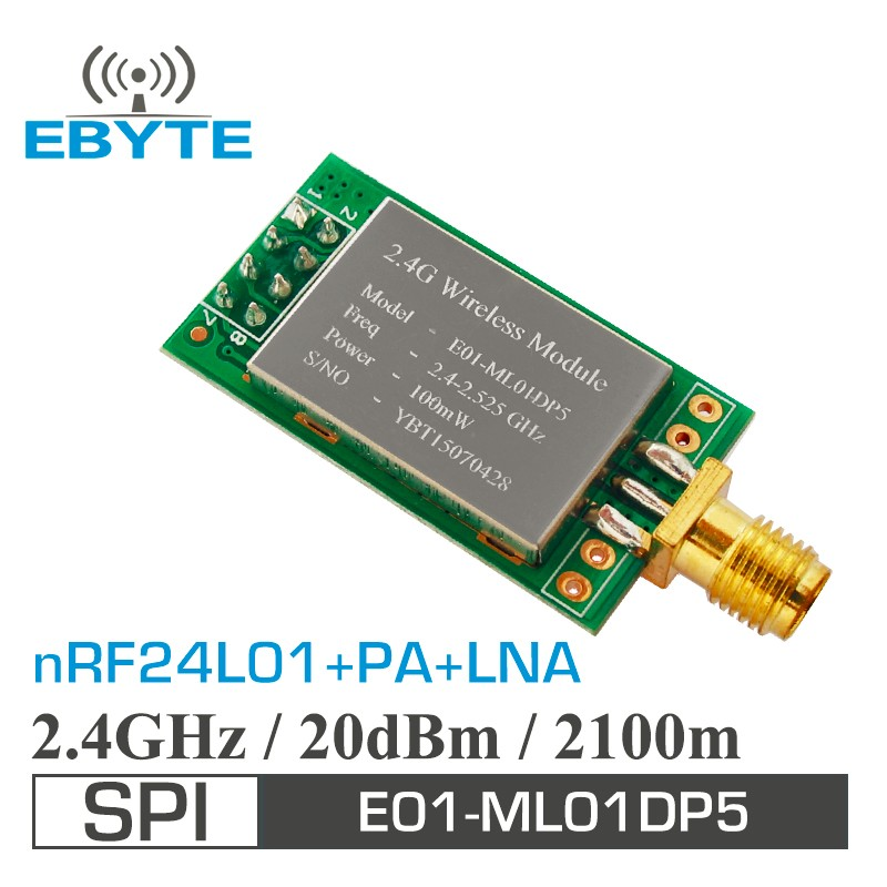 E01-ML01DP5 2.1km 100mW nRF24L01+pa lna wireless radio frequency data transmission transceiver module