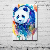 Cute panda black wall decor nice handmade house paintings dropship modern canvas art pictures for living room
