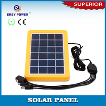 6V3W Grade A polycrystalline solar cell 5in1 phone charger solar panel