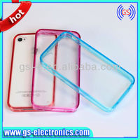 ACRYL Transparent PC with TPU bumper case for iPhone 4/4S with dust plug