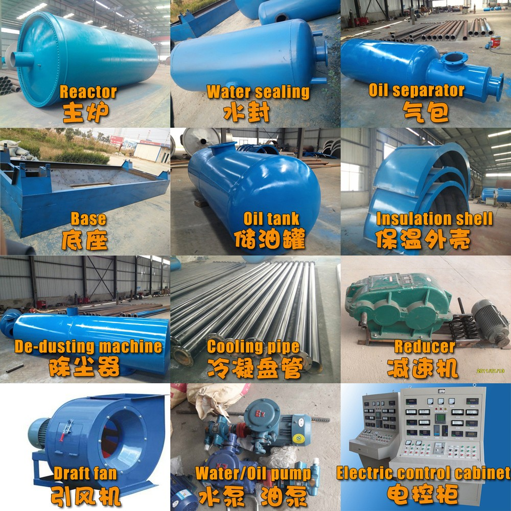Zero pollution auto-alarm Used Tyre/ Waste Plastic to fuel oil Machine