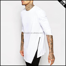 fashion design blank white long sleeve 100 egyptian cotton luxury bulk t-shirt with cheap price