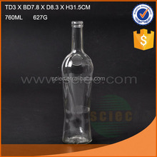 2016 hot sale round 750ml glass wine bottle for Tequila,customized
