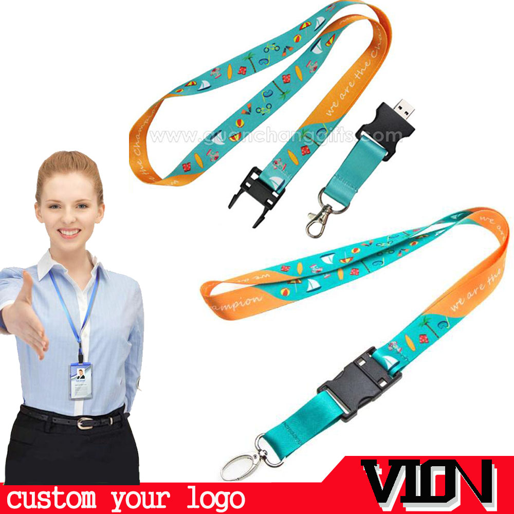 Promotional custom printing USB drive flash lanyard with plastic clip