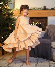 China manufacturer wholesale summer Caramel elegance kids beautiful christmas party dresses girl simple sleeveless dress