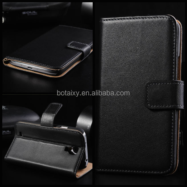 Luxury Genuine Real Leather Flip cover Wallet Case for Samsung Galaxy S4